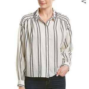 Vince Camuto Women's Embroidered Long Sleeve Top